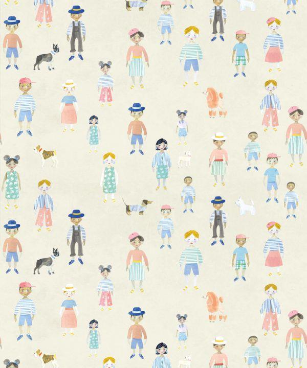 Paper Dolls wallpaper • Cream • Swatch