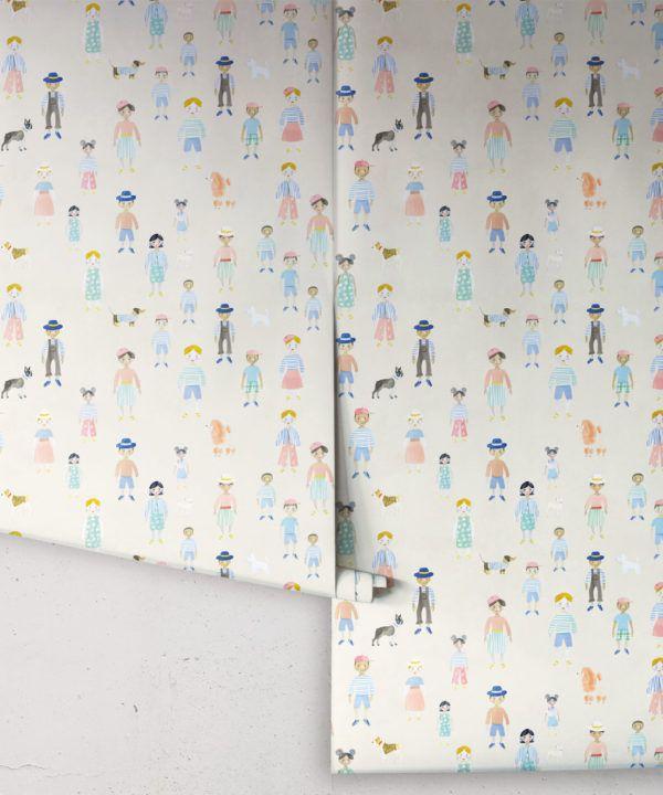 Paper Dolls wallpaper • Cream • rolls