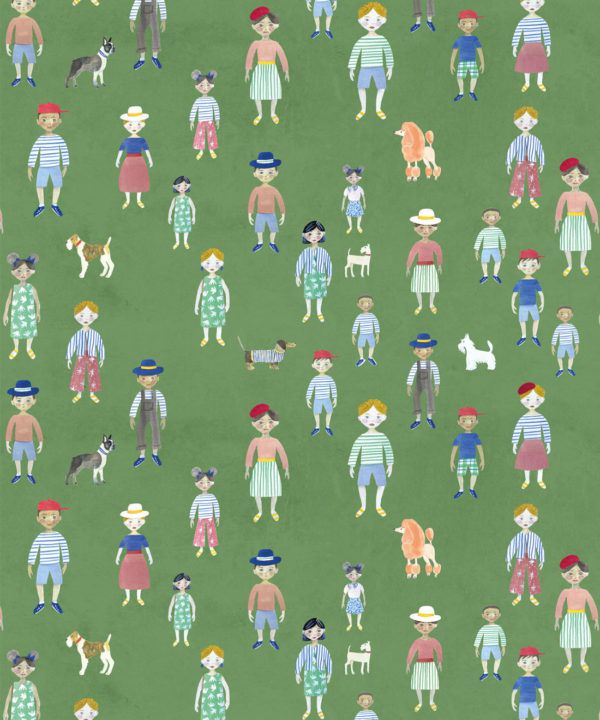 Paper Dolls wallpaper • Green • Swatch