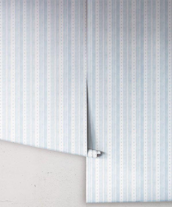Star Stripe Wallpaper • Dusty Blue • Rolls