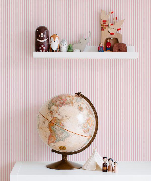 Ticking Stripe Wallpaper • Pink Wallpaper • Insitu