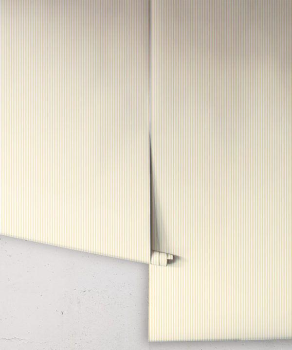 Ticking Stripe Wallpaper • Sunshine Yellow Wallpaper • Rolls