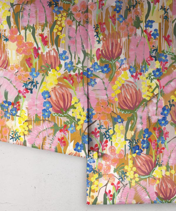 Acacia Wallpaper •Colourful Floral Wallpaper • Tiff Manuell • Abstract Expressionist Wallpaper • Rolls