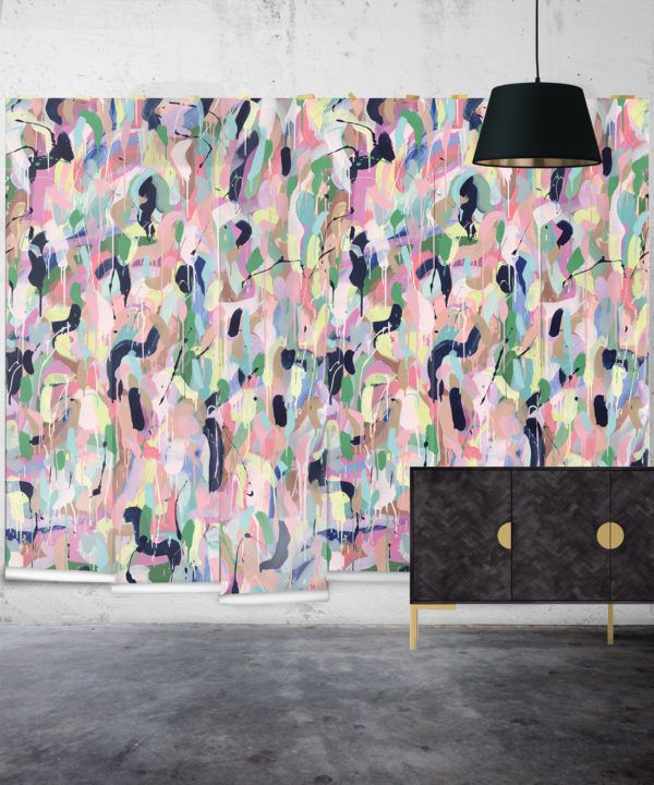 Between Tides Wallpaper •Colourful Painterly Wallpaper • Tiff Manuell • Abstract Expressionist Wallpaper • Wide Insitu