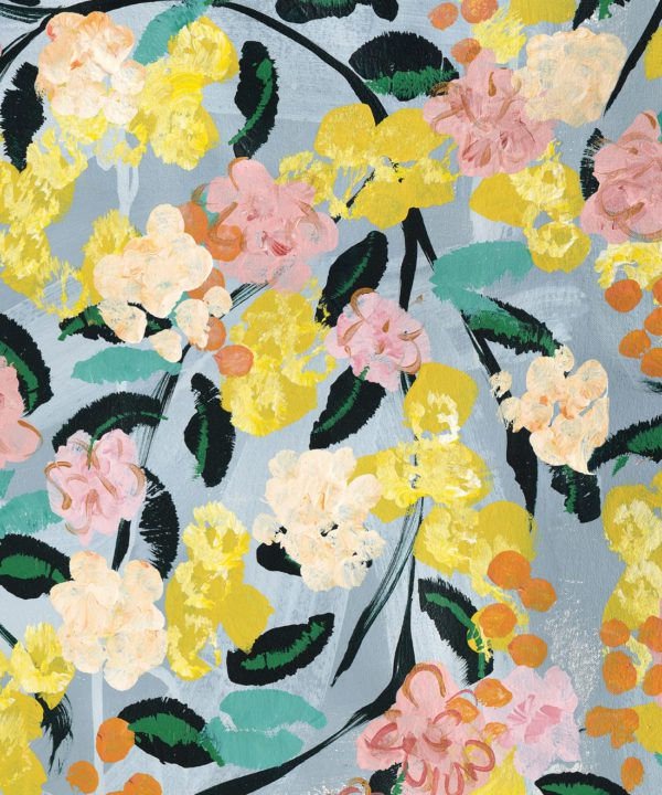 Blossom Wallpaper •Colourful Floral Wallpaper • Tiff Manuell • Abstract Expressionist Wallpaper • Swatch