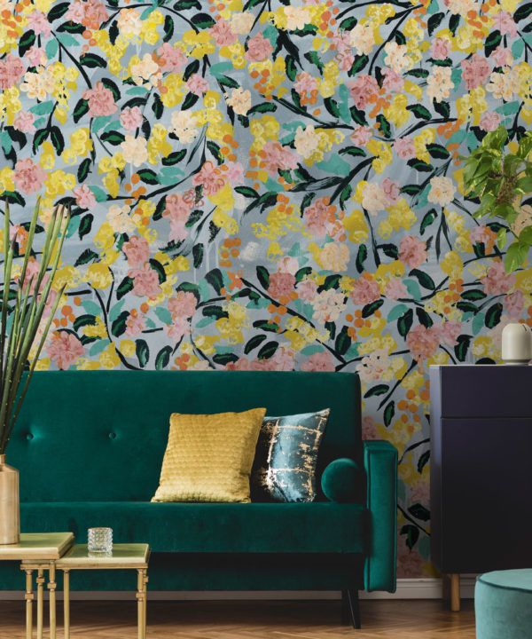 Blossom Wallpaper •Colourful Floral Wallpaper • Tiff Manuell • Abstract Expressionist Wallpaper • Close Up Insitu