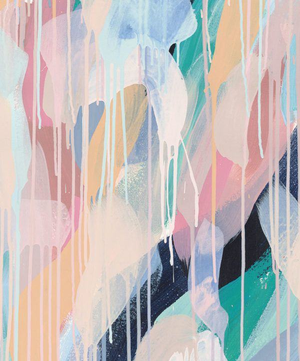 Blue Moon Wallpaper •Colourful Painterly Wallpaper • Tiff Manuell • Abstract Expressionist Wallpaper • Swatch