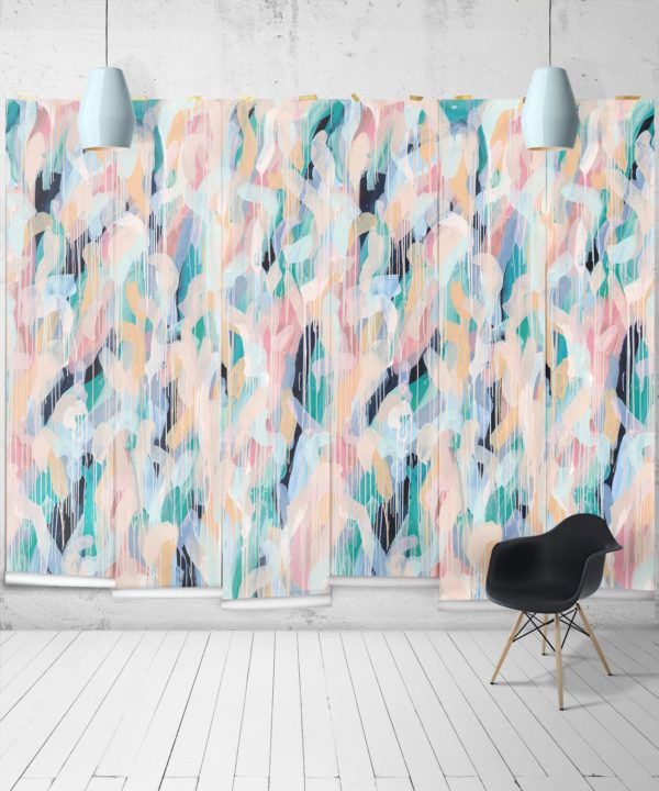 Blue Moon Wallpaper •Colourful Painterly Wallpaper • Tiff Manuell • Abstract Expressionist Wallpaper • Wide Insitu