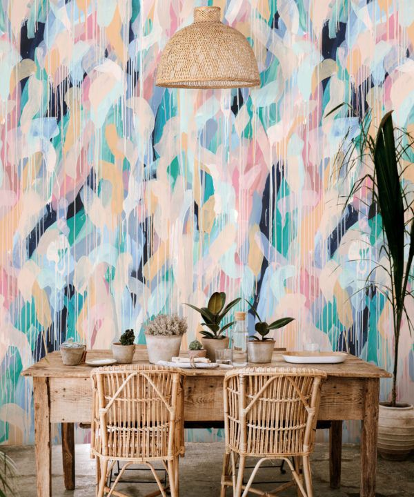 Blue Moon Wallpaper •Colourful Painterly Wallpaper • Tiff Manuell • Abstract Expressionist Wallpaper • Close Up Insitu