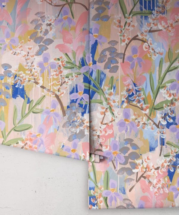 Daphne Wallpaper •Colourful Floral Wallpaper • Tiff Manuell • Abstract Expressionist Wallpaper • Rolls