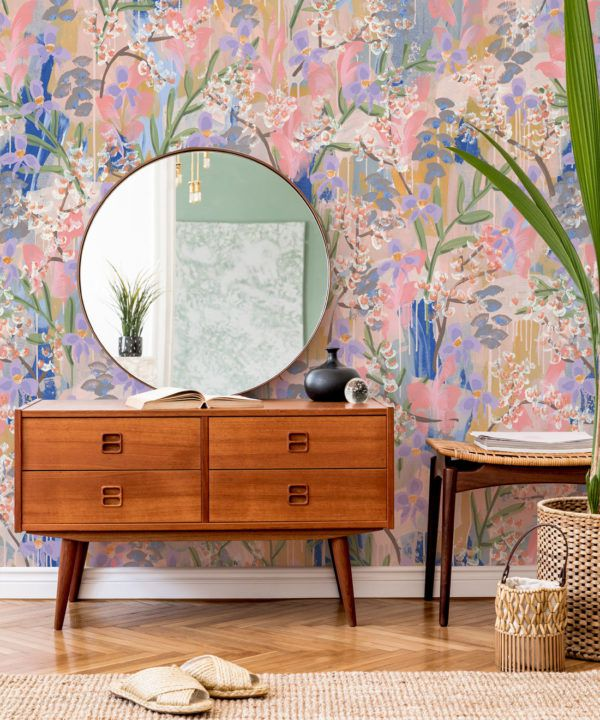 Daphne Wallpaper •Colourful Floral Wallpaper • Tiff Manuell • Abstract Expressionist Wallpaper • Close Up Insitu