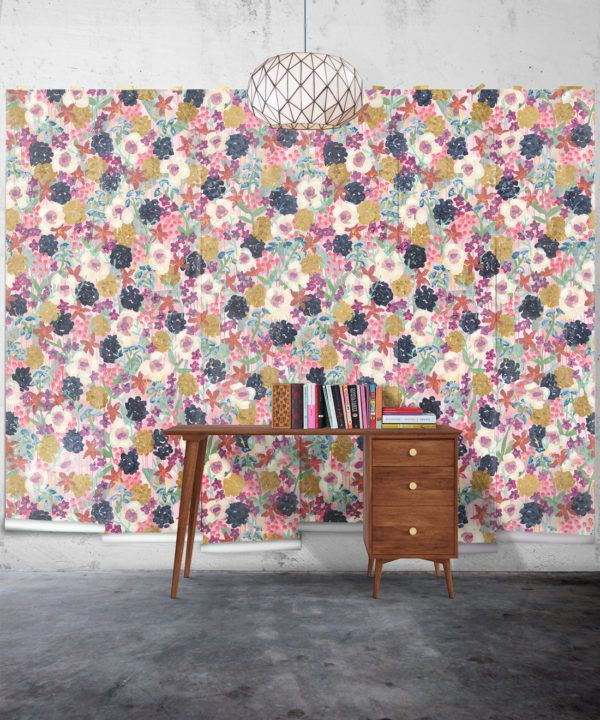 Garden State Wallpaper •Colourful Floral Wallpaper • Tiff Manuell • Abstract Expressionist Wallpaper • Wide Insitu