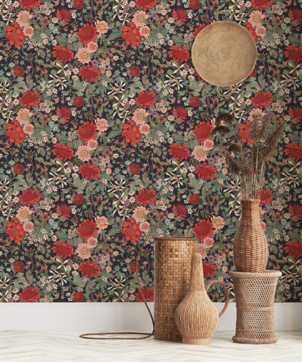 Bouquet Wallpaper • Eloise Short • Vintage Floral Wallpaper •Granny Chic Wallpaper • Grandmillennial Style Wallpaper •Licorice •Insitu