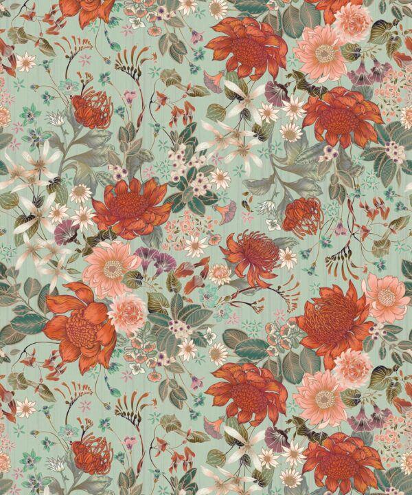 Bouquet Wallpaper • Eloise Short • Vintage Floral Wallpaper •Granny Chic Wallpaper • Grandmillennial Style Wallpaper •Pistachio •Swatch