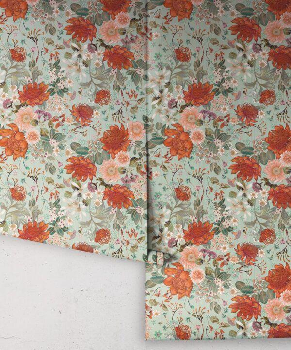 Bouquet Wallpaper • Eloise Short • Vintage Floral Wallpaper •Granny Chic Wallpaper • Grandmillennial Style Wallpaper •Pistachio • Rolls