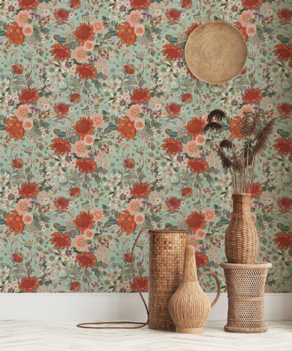 Bouquet Wallpaper • Eloise Short • Vintage Floral Wallpaper •Granny Chic Wallpaper • Grandmillennial Style Wallpaper •Pistachio •Insitu