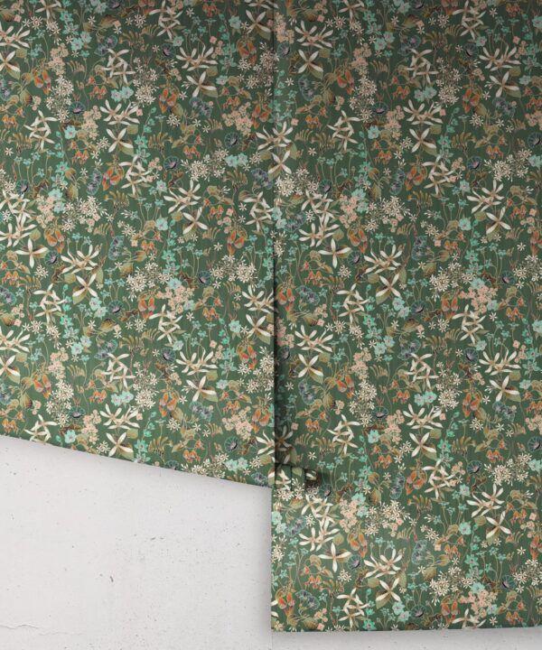 County Flowers Wallpaper • Eloise Short • Vintage Floral Wallpaper •Granny Chic Wallpaper • Grandmillennial Style Wallpaper •Avocado •Rolls