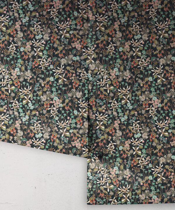 County Flowers Wallpaper • Eloise Short • Vintage Floral Wallpaper •Granny Chic Wallpaper • Grandmillennial Style Wallpaper •Charcoal •Rolls