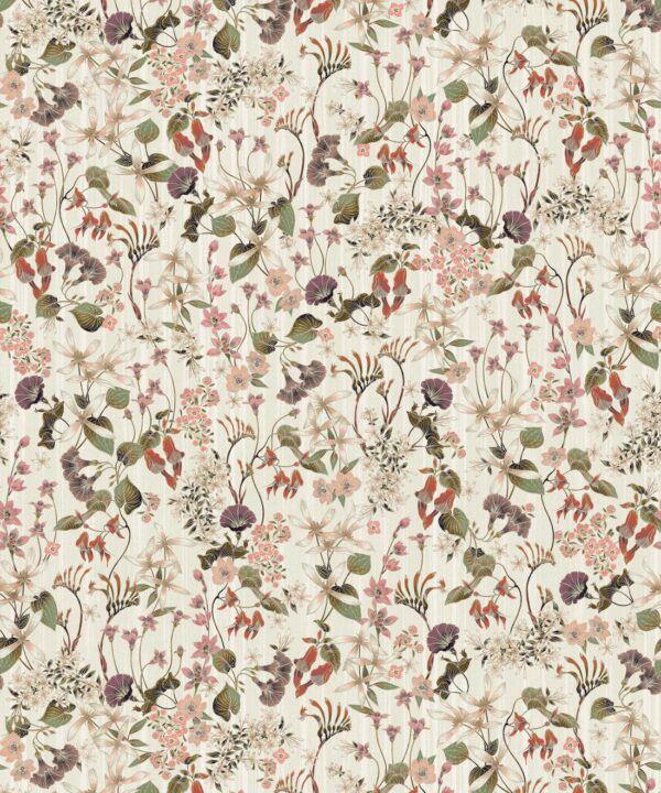 County Flowers Wallpaper • Eloise Short • Vintage Floral Wallpaper •Granny Chic Wallpaper • Grandmillennial Style Wallpaper •Neutral •Swatch