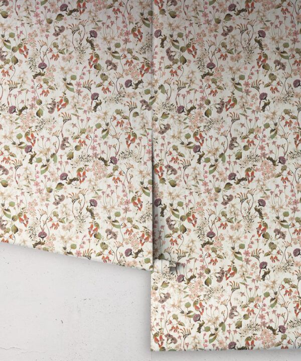 County Flowers Wallpaper • Eloise Short • Vintage Floral Wallpaper •Granny Chic Wallpaper • Grandmillennial Style Wallpaper •Neutral •Rolls