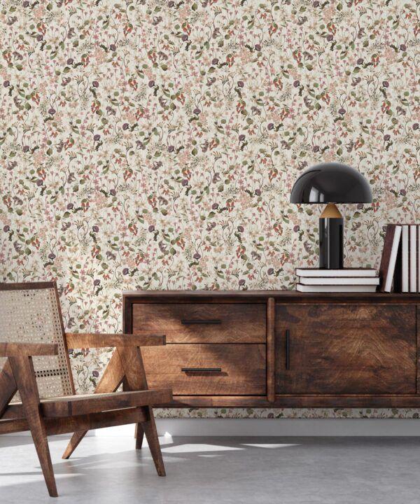 County Flowers Wallpaper • Eloise Short • Vintage Floral Wallpaper •Granny Chic Wallpaper • Grandmillennial Style Wallpaper •Neutral •Insitu