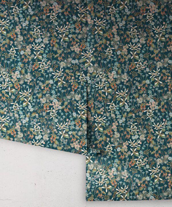 County Flowers Wallpaper • Eloise Short • Vintage Floral Wallpaper •Granny Chic Wallpaper • Grandmillennial Style Wallpaper •Peacock •Rolls