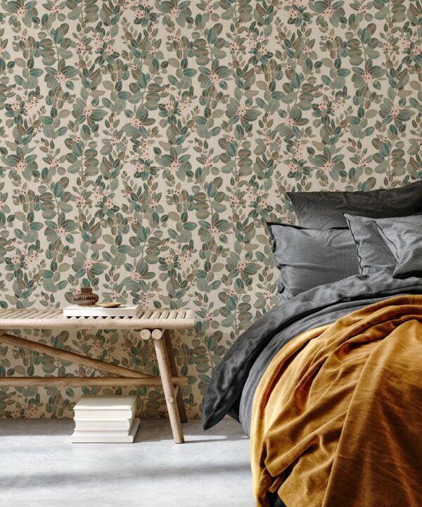 Eucalyptus Wallpaper • Eloise Short • Vintage Floral Wallpaper •Granny Chic Wallpaper • Grandmillennial Style Wallpaper •Pearl •Insitu