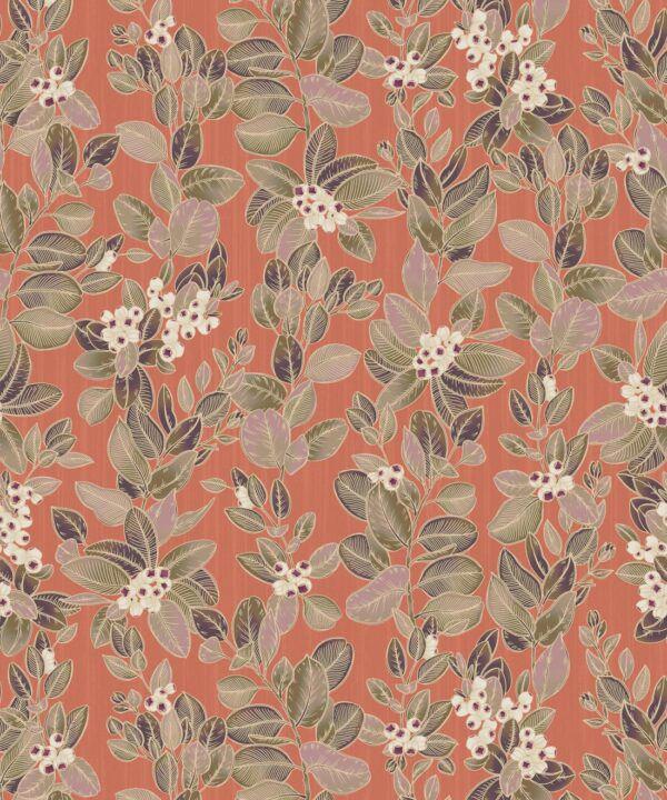 Eucalyptus Wallpaper • Eloise Short • Vintage Floral Wallpaper •Granny Chic Wallpaper • Grandmillennial Style Wallpaper •terracotta •Swatch