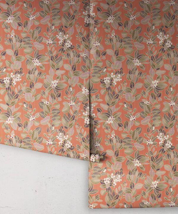 Eucalyptus Wallpaper • Eloise Short • Vintage Floral Wallpaper •Granny Chic Wallpaper • Grandmillennial Style Wallpaper •terracotta •Rolls