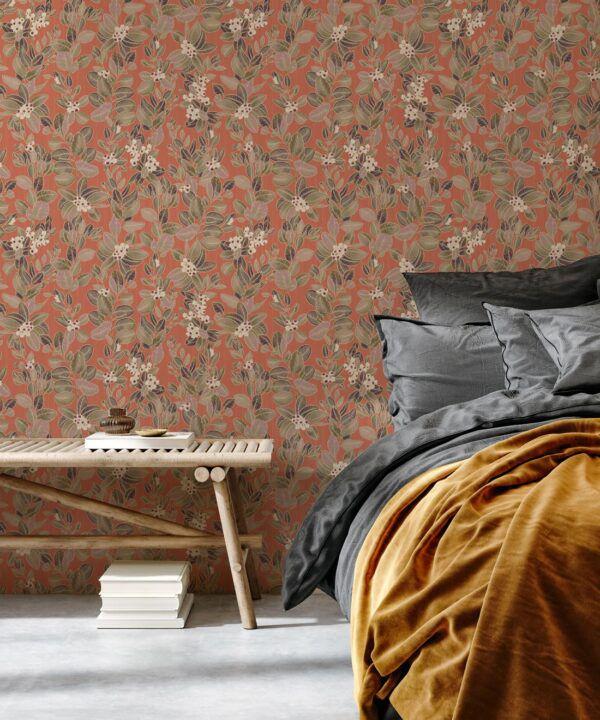 Eucalyptus Wallpaper • Eloise Short • Vintage Floral Wallpaper •Granny Chic Wallpaper • Grandmillennial Style Wallpaper •terracotta •Insitu