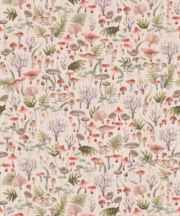 Fungi Wallpaper • Eloise Short • Vintage Floral Wallpaper •Granny Chic Wallpaper • Grandmillennial Style Wallpaper •Latte •Swatch