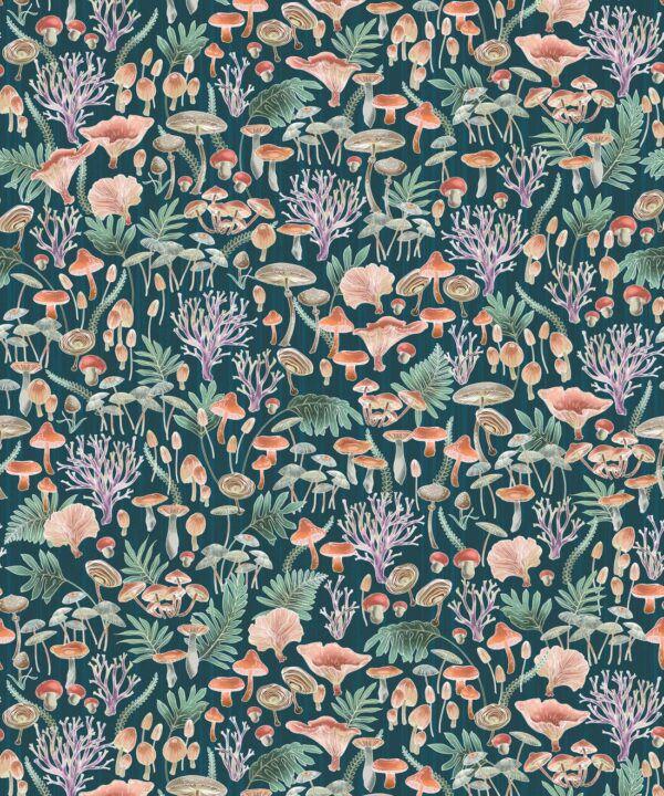 Fungi Wallpaper • Eloise Short • Vintage Floral Wallpaper •Granny Chic Wallpaper • Grandmillennial Style Wallpaper •Ocean •Swatch