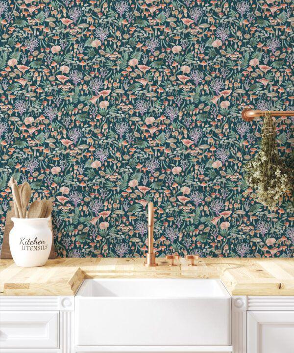 Fungi Wallpaper • Eloise Short • Vintage Floral Wallpaper •Granny Chic Wallpaper • Grandmillennial Style Wallpaper •Ocean •Insitu