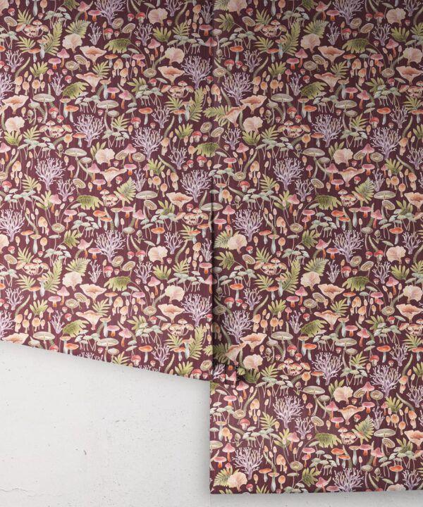Fungi Wallpaper • Eloise Short • Vintage Floral Wallpaper •Granny Chic Wallpaper • Grandmillennial Style Wallpaper •Wine •Rolls
