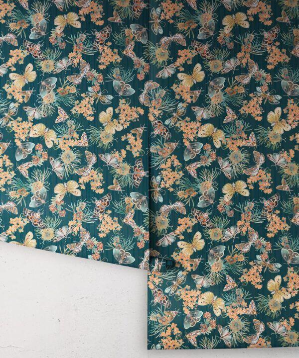 Moth Wallpaper • Eloise Short • Vintage Floral Wallpaper •Granny Chic Wallpaper • Grandmillennial Style Wallpaper •Deep Ocean •Rolls