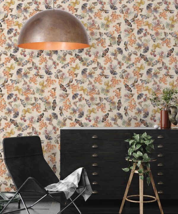 Moth Wallpaper • Eloise Short • Vintage Floral Wallpaper •Granny Chic Wallpaper • Grandmillennial Style Wallpaper •Ivory •Insitu