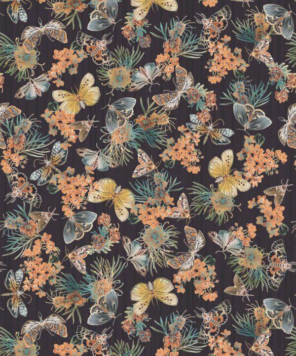 Moth Wallpaper • Eloise Short • Vintage Floral Wallpaper •Granny Chic Wallpaper • Grandmillennial Style Wallpaper •Night •Swatch