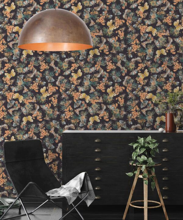 Moth Wallpaper • Eloise Short • Vintage Floral Wallpaper •Granny Chic Wallpaper • Grandmillennial Style Wallpaper •Night •Insitu