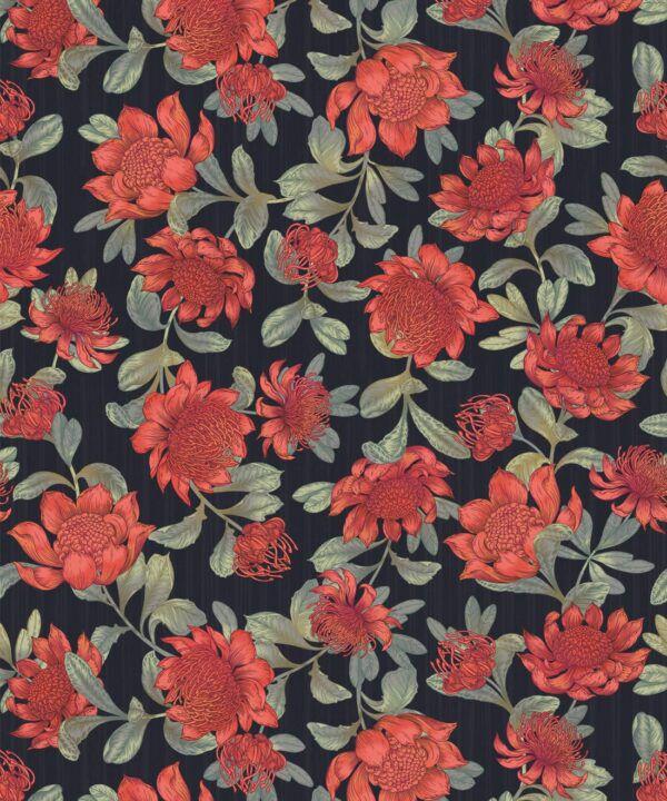 Waratah Wallpaper • Eloise Short • Vintage Floral Wallpaper •Granny Chic Wallpaper • Grandmillennial Style Wallpaper •Slate •Swatch