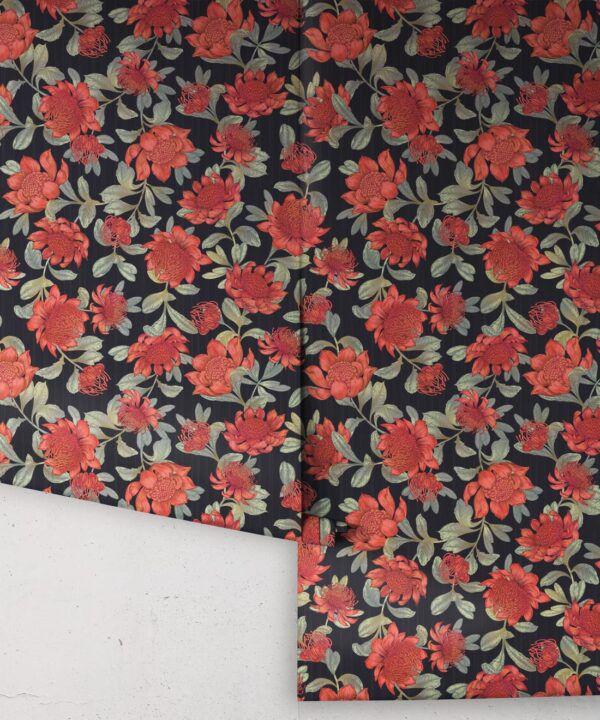 Waratah Wallpaper • Eloise Short • Vintage Floral Wallpaper •Granny Chic Wallpaper • Grandmillennial Style Wallpaper •Slate •Rolls