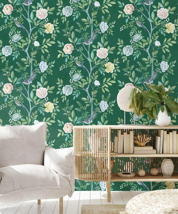 Chinoiserie Wallpaper •Floral Wallpaper •Bird Wallpaper • Magnolia • Emerald Green • Insitu