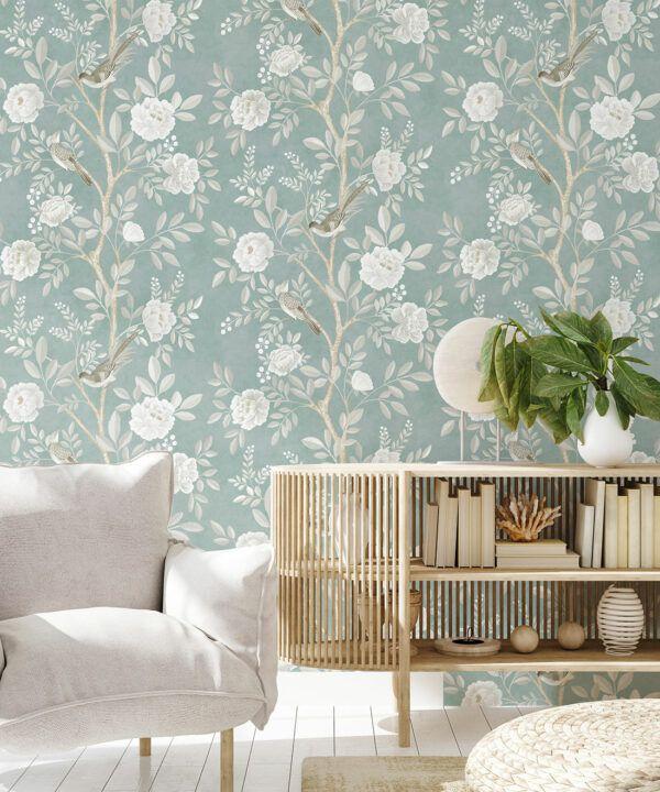 Chinoiserie Wallpaper •Floral Wallpaper •Bird Wallpaper • Magnolia • Milk Green • Insitu