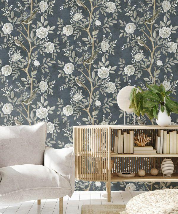 Chinoiserie Wallpaper •Floral Wallpaper •Bird Wallpaper • Magnolia • Navy • Insitu