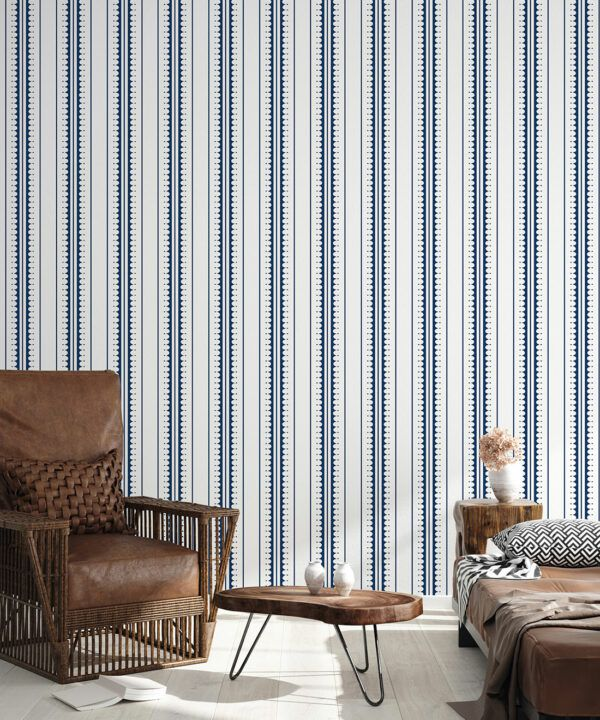 Coquille Wallpaper • Stripe and Scallop Wallpaper • Royal Blue • Insitu