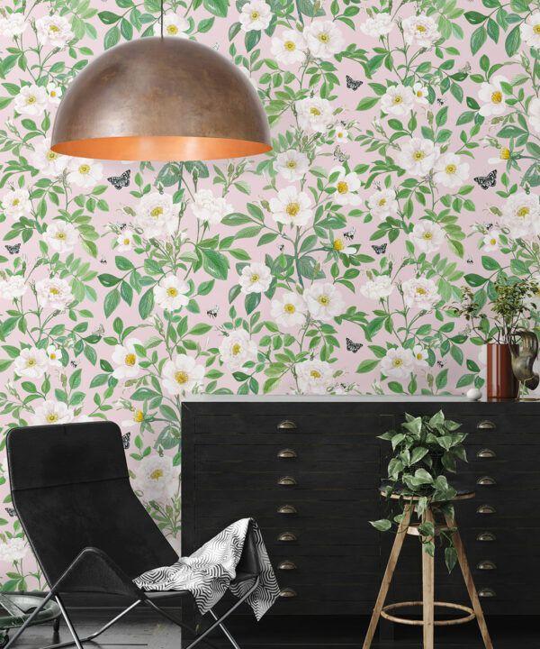 Rosa Wallpaper • Floral Wallpaper • Blush • Insitu
