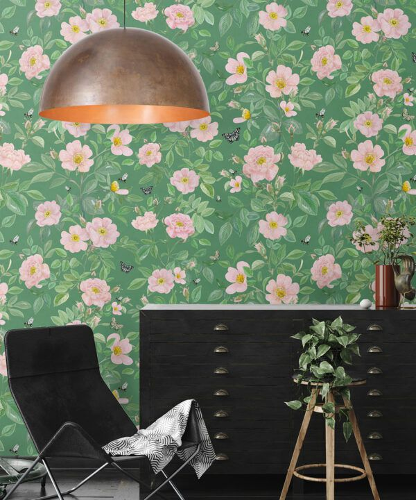 Rosa Wallpaper • Floral Wallpaper •Forest Green • Insitu
