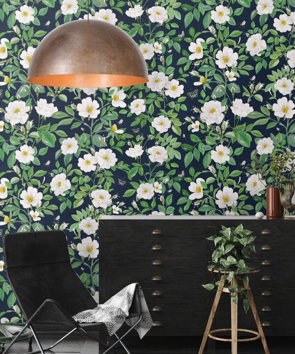 Rosa Wallpaper • Floral Wallpaper •Navy • Insitu