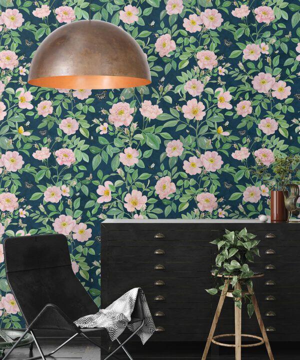 Rosa Wallpaper • Floral Wallpaper •Rose Pink • Insitu