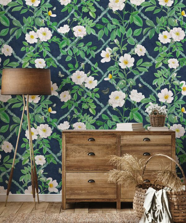 Treilage Wallpaper • Floral Wallpaper • Royal Blue • Insitu