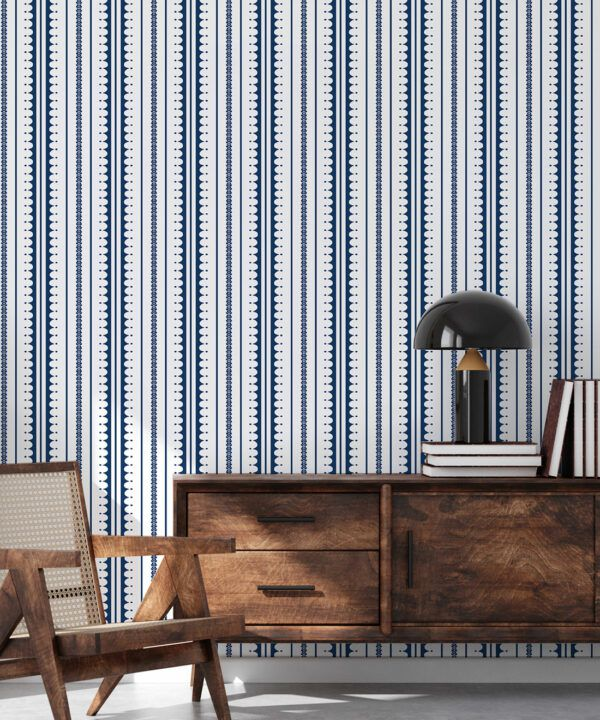 La Grand Coquille • Stripe and Scallop Wallpaper • Royal Blue • Insitu